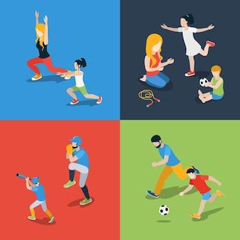 Flache isometrische hohe qualität familiensport spielen elternzeit icon set. mutter tochter sohn vater springseil baseball fußball fußball tanzen. bauen sie ihre eigene weltsammlung auf.