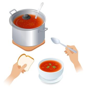 Flache isometrische illustration der kasserolle mit tomatensuppe, schüssel, löffel.