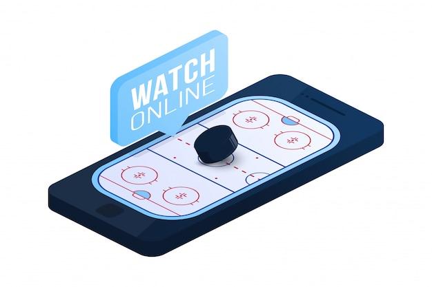 Flache isometrische illustration des eishockey-online-konzepts. isometrisches konzept der online-hockey-wohnung.