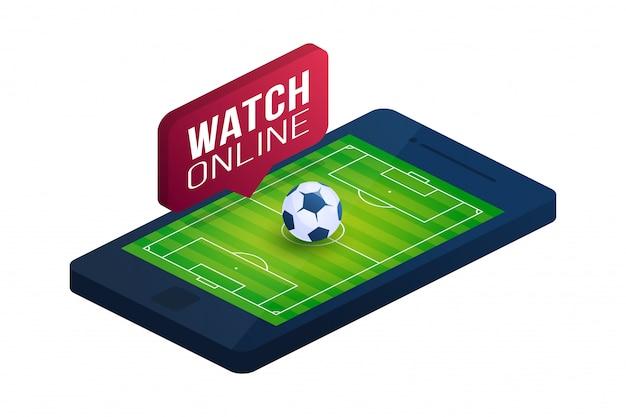 Flache isometrische illustration des fußball-online-konzepts. isometrisches konzept der online-fußballwohnung.