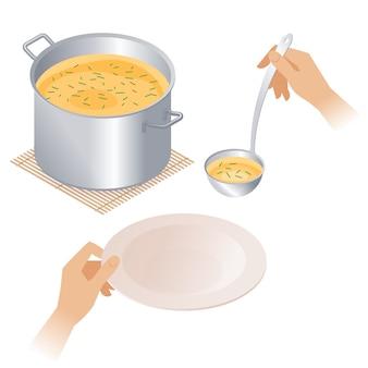 Flache isometrische illustration des topfes mit suppe, platte, schöpflöffel.