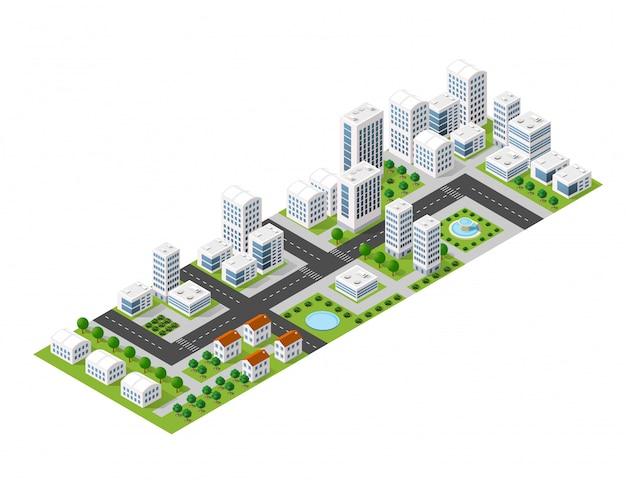 Flache isometrische karte, landschaftsstadt, errichtender wolkenkratzer, bild der natur