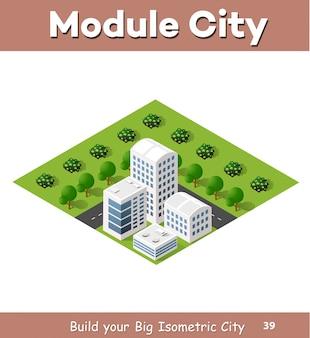 Flache isometrische karte, landschaftsstadt, errichtender wolkenkratzer