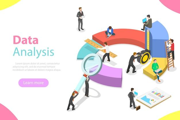 Flache isometrische konzeptgeschäftsstatistiken und -analysen,