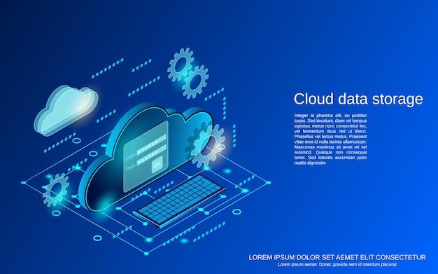 Flache isometrische konzeptillustration der cloud-datenspeicherung