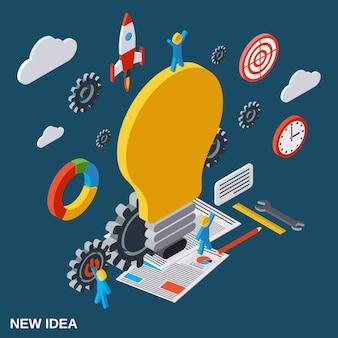 Flache isometrische konzeptillustration der kreativen idee