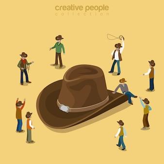 Flache isometrische land cowboy-art flach