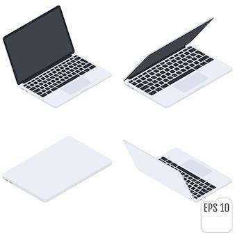 Flache isometrische laptops. flache notizbücher. computer auf weiß. satz moderner isometrischer elemente