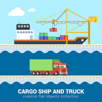 Flache isometrische lustige karikaturfrachtzustellung seeozean-straßentransportsatz. lkw-van-kfz-wagenmotor-lkw-container-schiffshafenverladung. bauen sie ihre eigene weltsammlung auf.