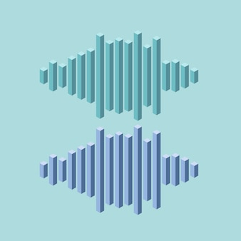 Flache isometrische musikwellenikone gemacht von den höchstlinien