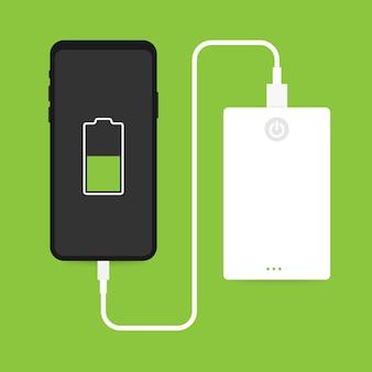 Flache isometrische smartphone-usb-kabelverbindung mit externer energiebank