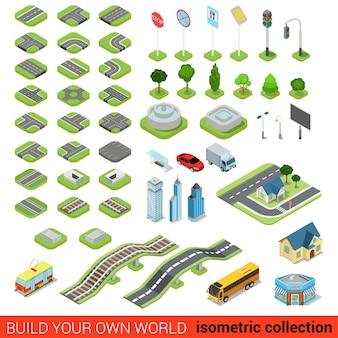 Flache isometrische straße straßenschild bausteine infografik konzept set kreuzung eisenbahnbrunnen ampel laterne wolkenkratzer straßenbahn bus shop bauen sie ihre eigene infografiken welt sammlung