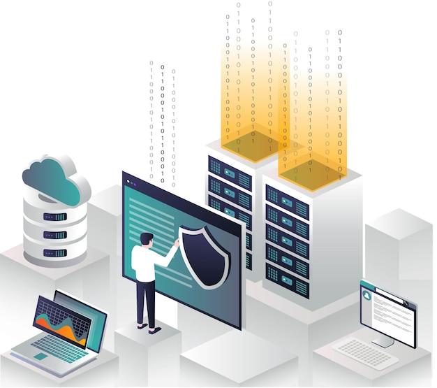 Flache isometrische vektorillustrationsprogrammierer sichere cloud-serverdaten