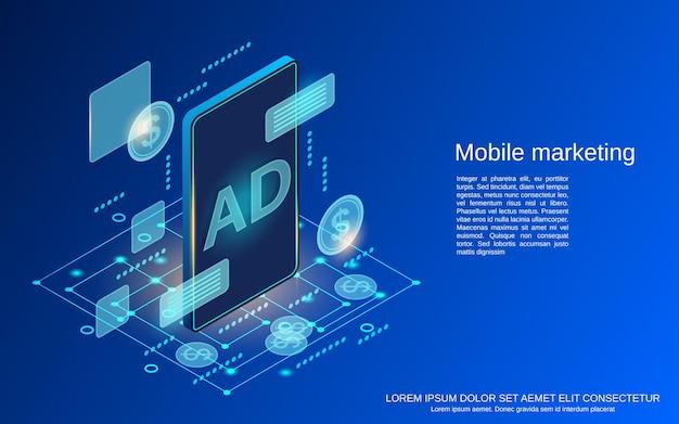 Flache isometrische vektorkonzeptillustration des mobilen marketings