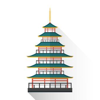 Flache japan mehrstöckige pagode-symbol