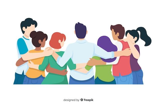 Flache jugendleute, die zusammen umarmen