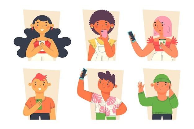 Flache junge leute, die smartphonesammlung verwenden