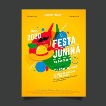 Flache juni festival flyer vorlage design
