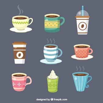 Flache kaffeetassesammlung