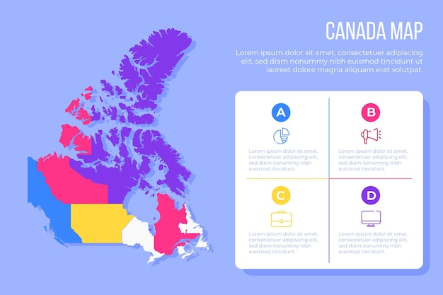 Flache kanada karte infografik