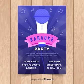 Flache karaoke party plakat vorlage