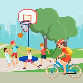 Flache karikatur-aktive jugendlich-charaktere tun sport