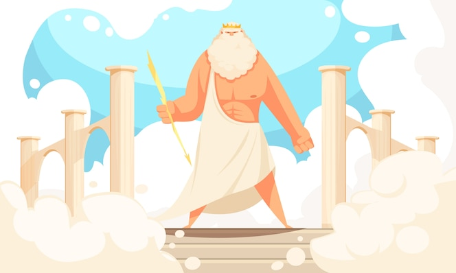 Flache karikatur alter götter griechenlands des starken mythologischen zeus prominente figur im pantheon