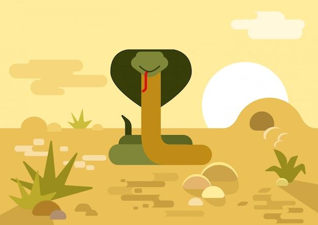 Flache karikatur der kobraschlangenbau-wüste