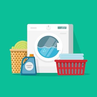 Flache karikatur der wäschereiraumservice-vektorillustration