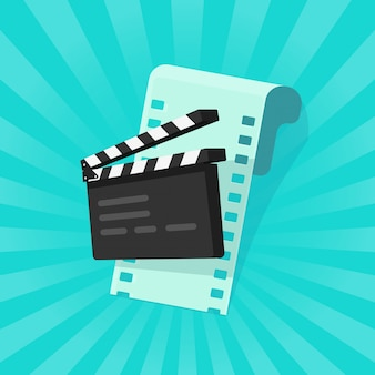 Flache karikatur des film- oder online-kinokonzeptes