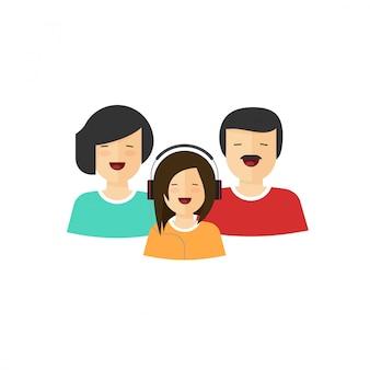 Flache karikatur des lächelnden porträtvektors der glücklichen familie