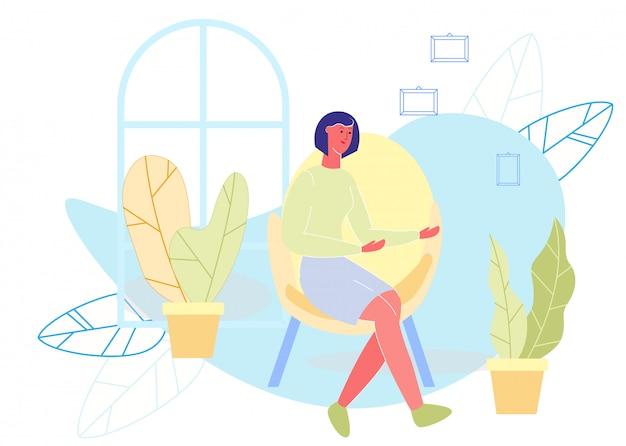 Flache karikatur-frau, die auf stuhl-illustration sitzt