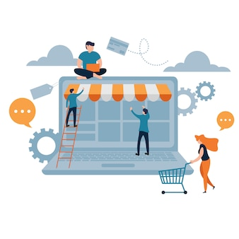 Flache karikaturart des on-line-einkaufen-notizbuches