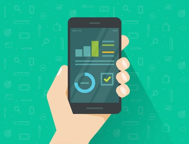 Flache karikaturartstatistikinformations-forschungsergebnisse auf smartphone- oder mobiltelefonanzeige mit wachstumsdiagramm und diagramm berichten über flache karikatur des vektors