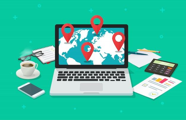 Flache karikaturillustration der globalen internationalen bestimmungsort- oder navigationson-line-analyse