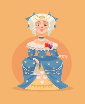 Flache karikaturillustration der königinfrauenfigur