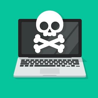 Flache karikaturillustration der laptop-computer virus- oder schadsoftware-warnung