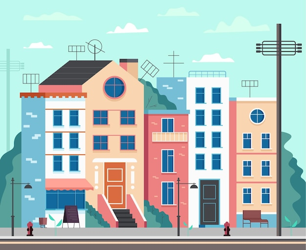 Flache karikaturillustration der stadtstadtstraße der leeren stadt