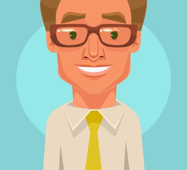 Flache karikaturillustration des glücklichen büroangestelltengeschäftsmannlächels lächeln