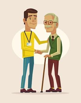 Flache karikaturillustration des sozialarbeiters und des großvaters