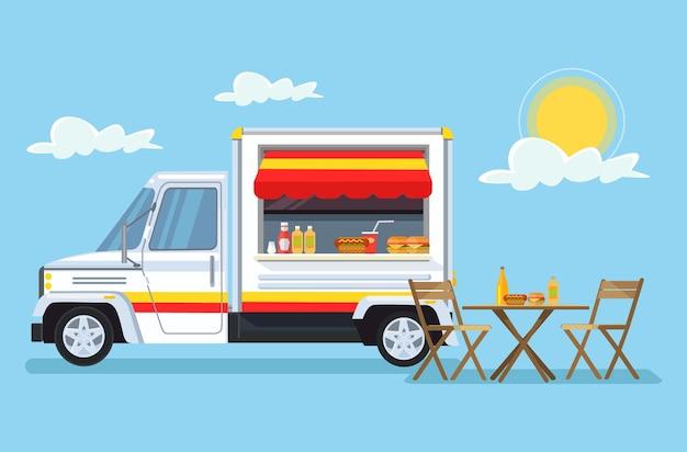 Flache karikaturillustration des straßenlebensmittelautos