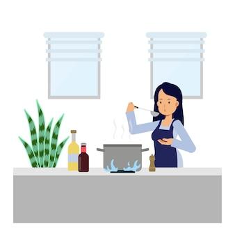 Flache karikaturillustration von frauen, die in der küche kochen. essen zubereiten.