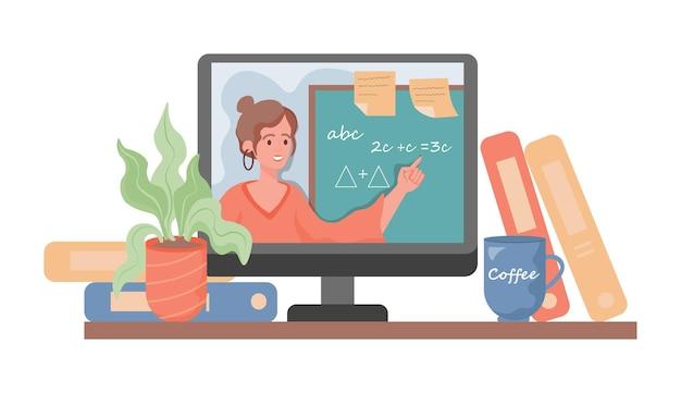 Flache karikaturillustrationsfrau des online-bildungsvektors auf laptop-bildschirm