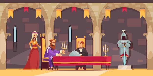 Flache karikaturinnenzusammensetzung des königlichen speisesaalbereichs des mittelalterlichen schlosses mit könig, der mahlzeit gedient wird