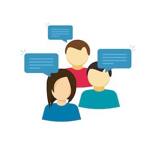 Flache karikaturleute, die oder diskussionsgruppenvektor sprechen