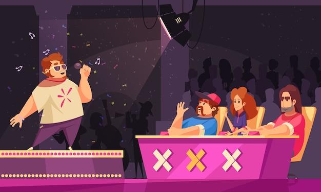 Flache karikaturzusammensetzung der fernsehgesangstalentshow mit dem kandidaten, der an der podiumscheinwerferjury auf der bühne durchführt