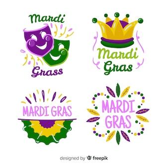 Flache karneval-abzeichensammlung