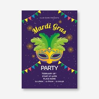 Flache karneval flyer vorlage