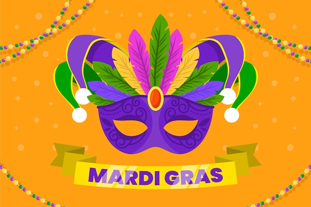 Flache karneval mit bunter maske