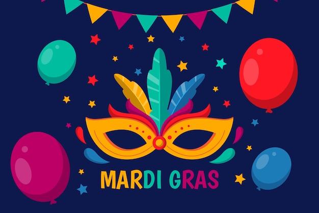 Flache karneval mit luftballons